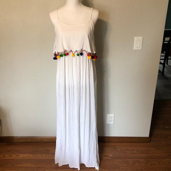 Boohoo Dresses & Skirts - NWT Boohoo Maxi Dress White Pom Poms US 4 UK 8